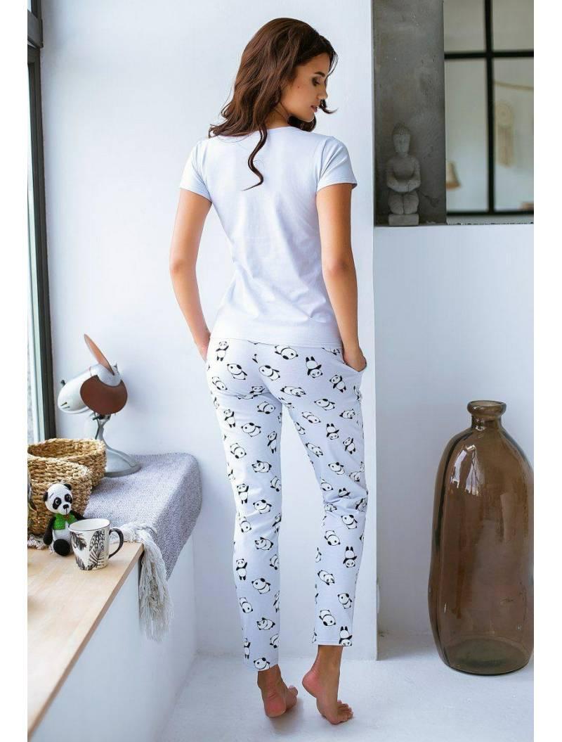 Пижама светло-серая с пандами